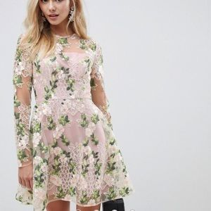 NWT ASOS DESIGN mini skater dress with embroidery